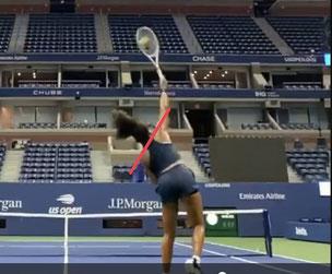 テニス サーブ 肩肘肩 ライン