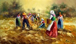 Cuadro con campesinos en el campo