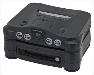 Nintendo64本体に64DD本体を取り付けた状態