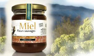 Pot de miel fleurs sauvages et la montagne en cevennes de l'apiculteur bastien alise