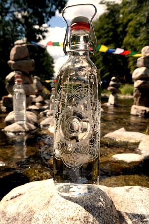 mandala, saubere flasche, keine plastik, gravur, motiv, gestaltung
