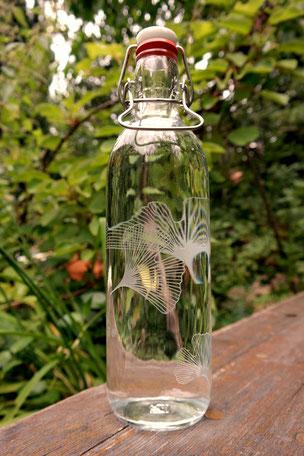 gingko ginko gingo blatt freiglas trinkflasche plastikfrei glasflasche
