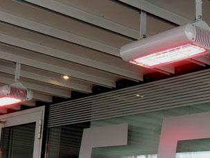 Infrarot Decken-Heizstrahler im Eingangsbereich