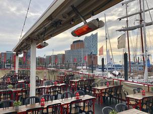 Beheizte Terrasse auf Boot in der Gastronomie