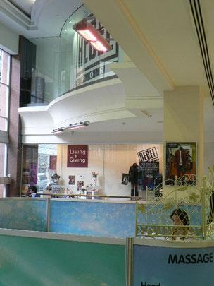 Eingang in Einkaufszentrum Heizung