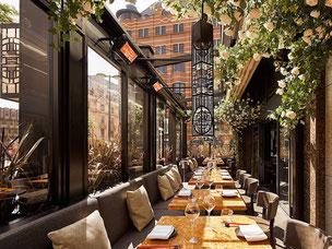 Restaurant Terrasse, ganzjährige geöffnet mit Heizstrahlern