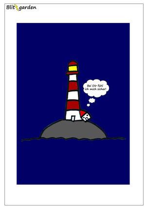 Blitzgarden Cartoon für Menschenkenner-Mkt. Oli Kock: Leuchtturm beschützt kleines Haus