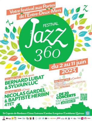 Affiche Festival JAZZ360 2020, du jeudi 4 juin au dimanche 14 juin 2020. Graphisme : Ulysse Badorc