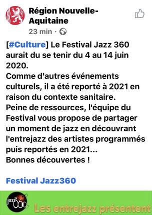 Ce 11 juin 2020, la région Nouvelle-Aquitaine recommande JAZZ360 et ses entrejazz 2020.