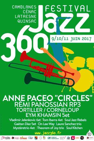 Affiche Festival JAZZ360 2017. Création graphique : Ulysse Badorc