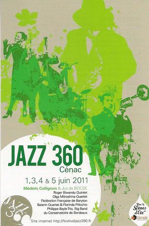 Affiche du Festival JAZZ360 2011, création graphique: David Gimenez. Rétrospective photographique du Festival JAZZ360 2011. Photographies de Christian Coulais