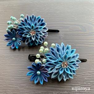 青いむら染めの髪飾り つまみ細工nijiiroya