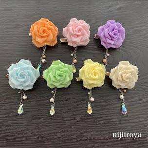 バラのクリップ つまみ細工nijiiroya