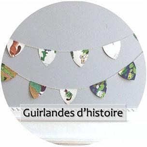 guirlandes décoratives chambres d'enfants fait main made in France pièce unique recyclage upcycling albums livres jeunesse vintage anciens