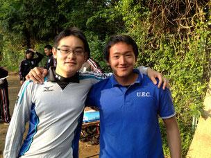右の人は学連の管財副委員長で電通の主将の若田部さんで〜す!