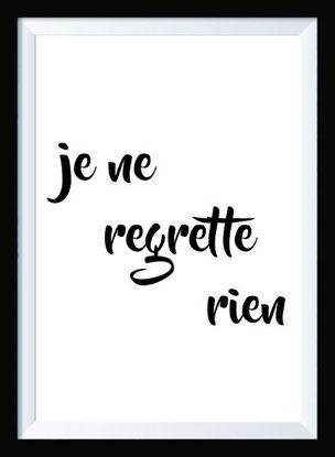 Typografie Poster, Typografie Print, Reisen, je ne regrette rien