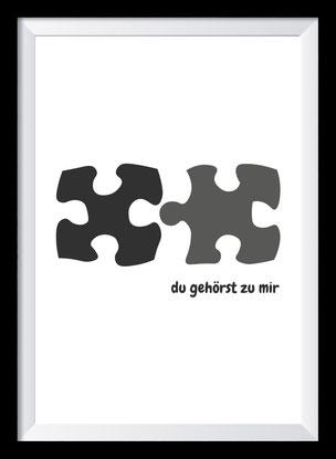 Typografie Poster, Schwarz-weiß Typografie - Du gehörst zu mir!