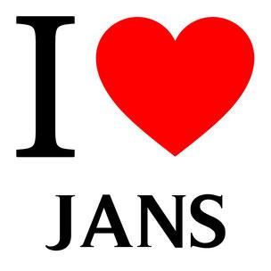 j'aime jans écrit avec un coeur rouge