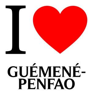 La lettre I et un coeur rouge pour dire I love guémené-penfao