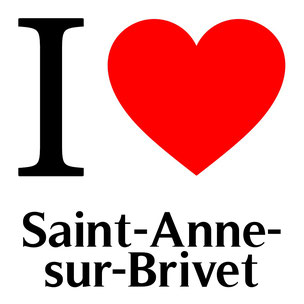 """la lettre i en noir qui signifie """"je"""" en anglais avec un coeur rouge et le nom saint anne sur brivet"""