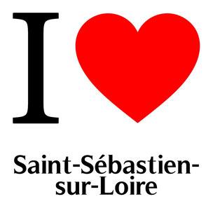 j'aime saint sébastien sur loire écrit avec un coeur rouge