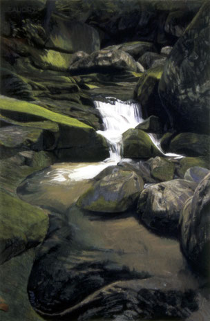 francois beaudry pastel and watercolor painting landscape white water rocks moss via appalachia series 8