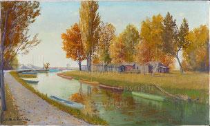 Nr.2190  Herbstlandschaft mit Booten (Bei Yverdon?)