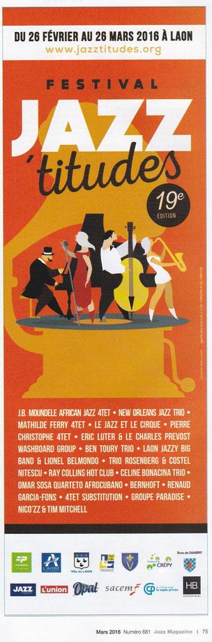 JazzMagazine février et mars 2016