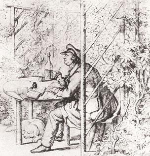 Jean Paul dichtet in seiner Gartenlaube in Bayreuth. Zeichnung von Ernst Joachim Förster [Public domain], via Wikimedia Commons