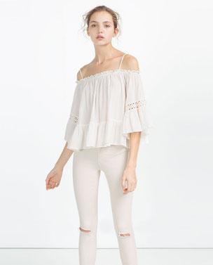blouse épaules dénudées zara