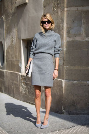 pull et jupe gris