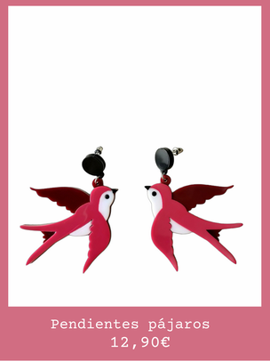 Pendientes pájaros rosas