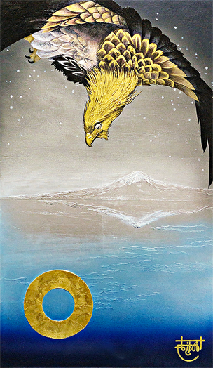 """Hawk- Tribute to Hiroshige Utagawa""   45.5×38. cm  Oil Painting, Gold foil.  Framed."