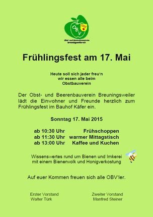 OBV Breuningsweiler lädt herzlich zum Frühlingsfest am 17. Mai 2015 ein.