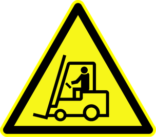 """Warnschild """"Warnung vor Flurförderzeugen"""" als Symbolbild für den Vortrag Feuerwehreinsätze in der Industrie"""
