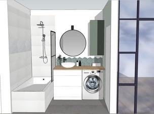 salle de bain, salle d'eau, baignoire, carrelage, vue 3D salle de bain, projet rénovation salle de bain
