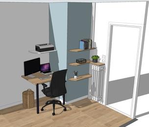 Bureau, bureau télétravail, projet bureau, 3D bureau, vue 3D bureau,