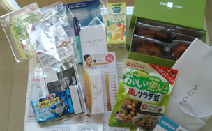 展示で頂いたサ一部ですンプルの一部です。 Yoroizukaの焼き菓子は事前に申し込んだら当選しました!