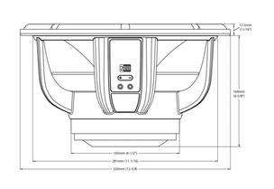 Skizze Maße Bass Lautsprecher Audiofrog GB12D2
