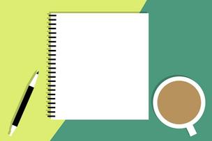 リング式ノートとペン、コーヒーの入ったマグカップのイラスト。