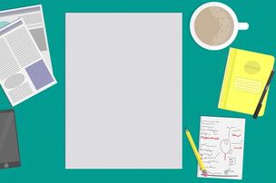 コンサルティング。レポートパッド、資料、タブレット、メモ、鉛筆、コーヒーの入ったマグカップ。