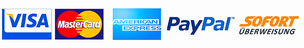 Zahlarten Paypal , Sofort , Kreditkarte Stripe,  Visa , American Express , Mastercard