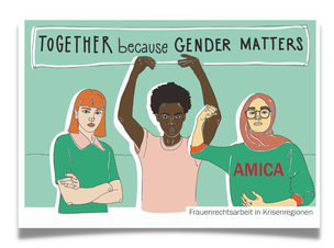 "Postkarte ""Together because gender matters"""""