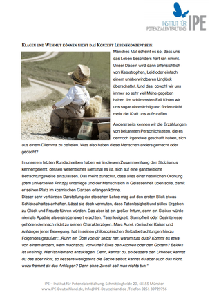 "Themenletter April 14  ""Das Hindernis als Weg"""
