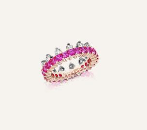 """Ring """"The Crown"""" aus 18-Karat Rosé- und Weissgold mit pinken Saphiren und Brillanten. 100% Swiss Handmade"""