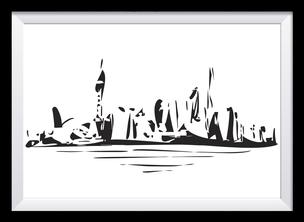 Schwarz-weiß Illustration - Stadt, abstrakte Kunst