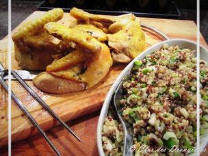 Poulet rôti citron vert et basilic farci du riz des Incas