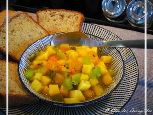 Minestrone exotique de fruits frais au safran