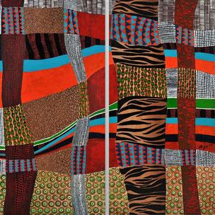 """""""Afrikan power""""     120 x 120 cm  Zweiteiliges Werk ( je 120 x 60 cm)  Acryl auf Leinwand  Galeriekeilrahmen  2011"""