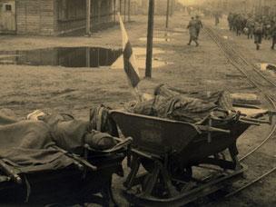 Kranke KZ-Häftlinge auf Wagen der Lorenbahn im Stalag X B. Foto: Mosè Cabalisti, nicht datiert [zwischen 20. und 29.4.1945]. Archivio Giovannino Guareschi, Roncole Verdi, Parma, Italien